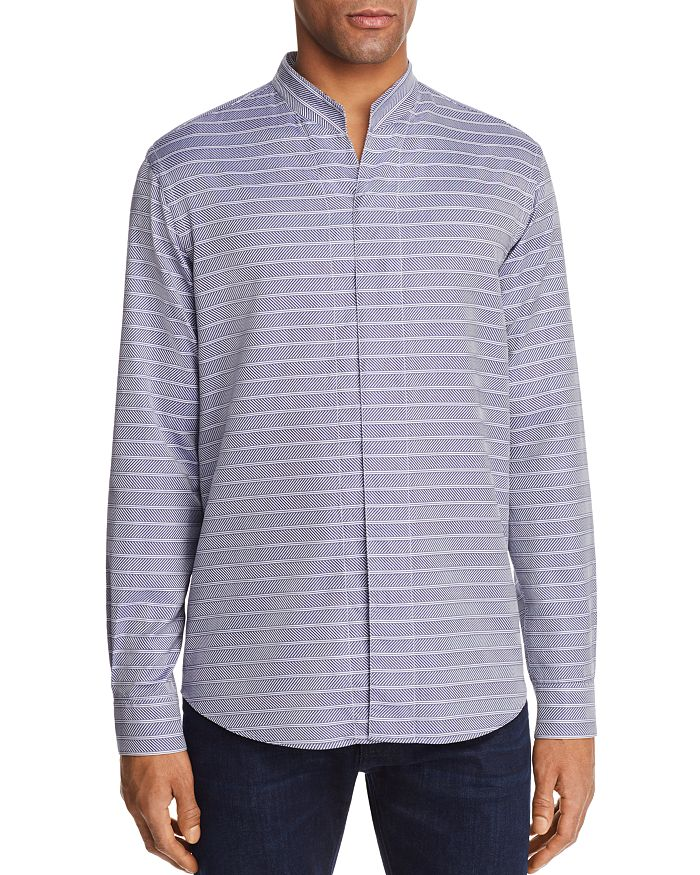 Armani - Chevron Striped Regular Fit Button-Down Shirt
