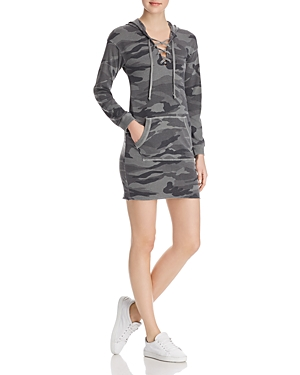 Splendid Lace-Up Camo Sweatshirt Dress