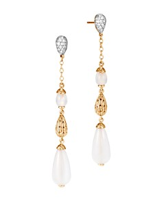John Hardy 18K Yellow Gold Classic Chain Pavé Diamond & White Moonstone Linear Drop Earrings - Bloomingdale's_0