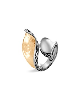 JOHN HARDY - Sterling Silver & 18K Bonded Gold Classic Chain Hammered Bypass Ring