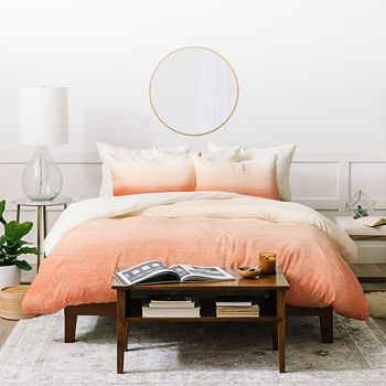 Deny Designs - Social Proper Peach Ombré Duvet Cover Set, Queen