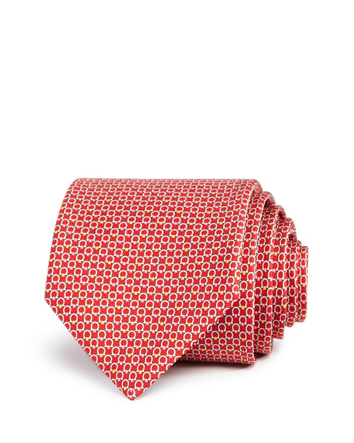 Salvatore Ferragamo Multi Gancini Classic Tie In Red