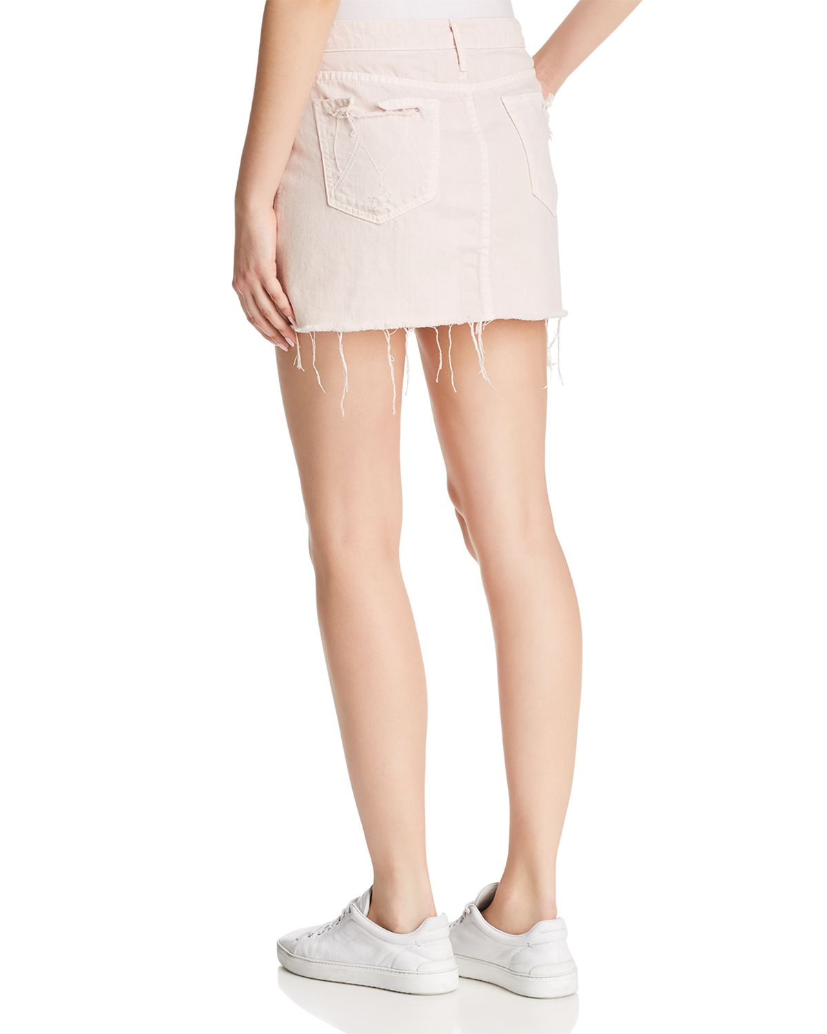 The Vagabond Distressed Frayed Denim Mini Skirt by Mother