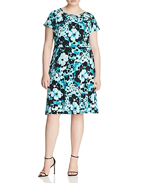 Michael Michael Kors Plus Springtime Floral Cutout Dress