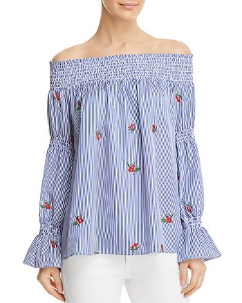 Soloiste - Floral Embroidered Striped Off-the-Shoulder Top