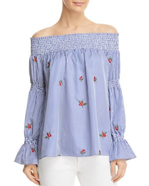 SOLOISTE FLORAL EMBROIDERED STRIPED OFF-THE-SHOULDER TOP