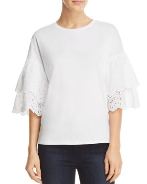 ALISON ANDREWS TIERED EYELET BELL SLEEVE TOP