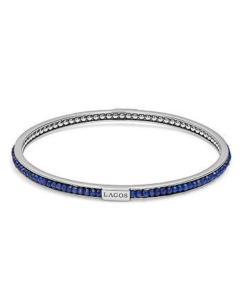 LAGOS - Sterling Silver Caviar Icon Lapis Beaded Bangle Bracelet