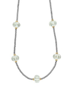 LAGOS - 18K Gold & Sterling Silver Gemstone Melon Bead Station Necklace
