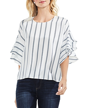 Vince Camuto  STRIPED RUFFLE-SLEEVE TOP