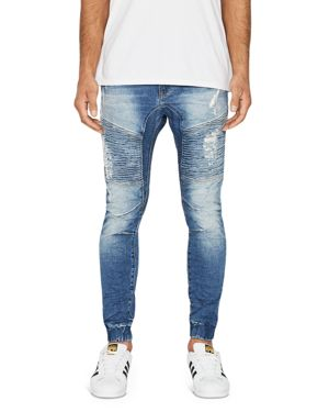 NXP MEN'S SLIM-FIT FIVE-POCKET BIKER KNEE-PANELS DISTRESSED JEANS