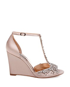 Badgley Mischka - Women's Sarah Embellished Satin T-Strap Wedge Sandals