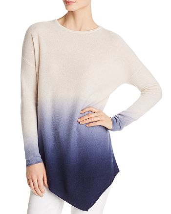 C by Bloomingdale's - Asymmetric Dip-Dye Lightweight Cashmere Sweater - 100% Exclusive