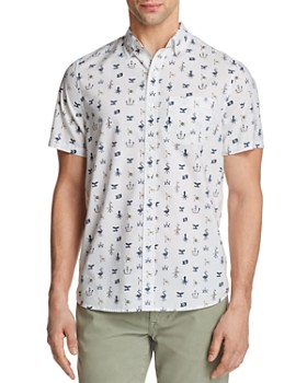 Michael Bastian - Ocean Matters Print Short Sleeve Button-Down Shirt