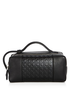Salvatore Ferragamo - Stamped Gancini and Pebbled Leather Travel Kit