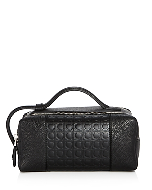 Salvatore Ferragamo Stamped Gancini and Pebbled Leather Travel Kit