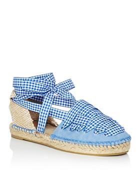 Castañer - Women's Jean Gingham Ankle Tie Espadrille Flats
