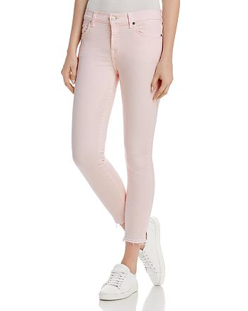 7 For All Mankind - Ankle Skinny Jeans in Pink Sunrise