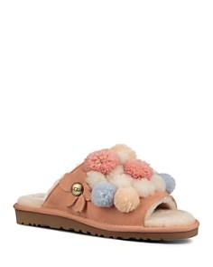 UGG® - Women's Clio Sheepskin Pom-Pom Slide Sandals