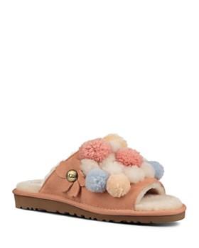 793e2c697c2 UGG® - Women s Clio Sheepskin Pom-Pom Slide Sandals ...
