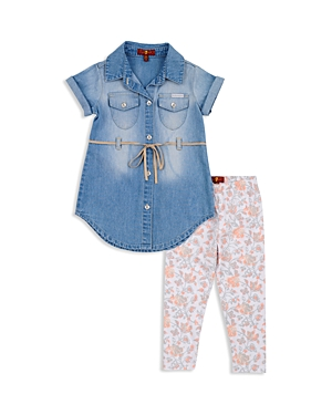 7 For All Mankind Girls Denim Dress  Floral Leggings Set  Baby