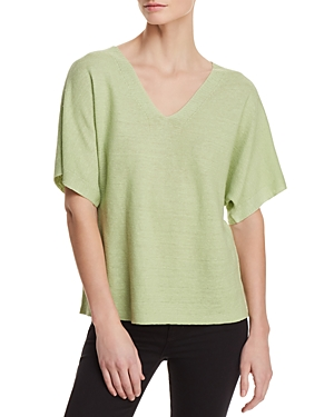 Eileen Fisher Organic Linen Deep V-Neck Sweater