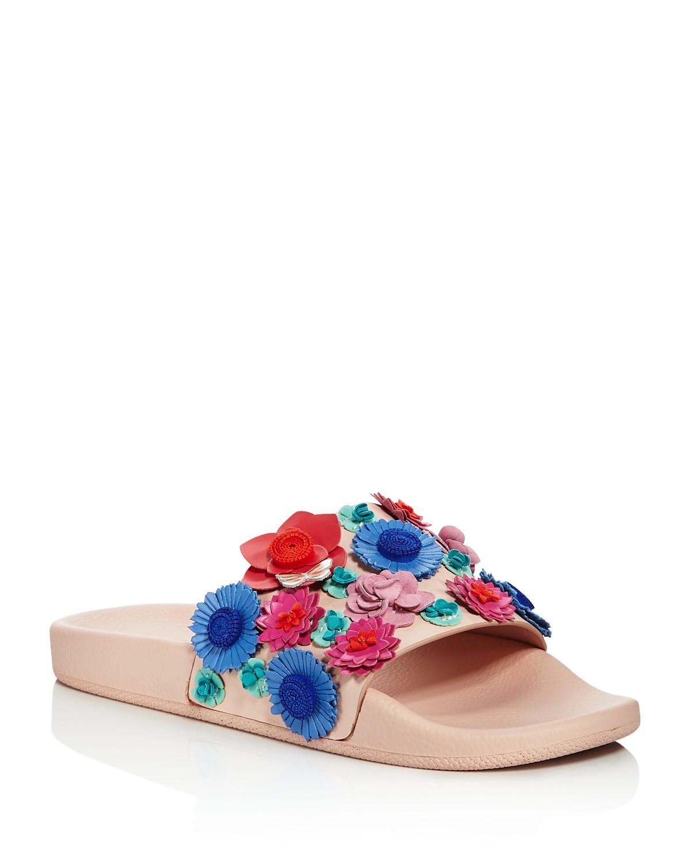 Kate Spade New York Women's Skye Floral Leather Pool Slide Sandals 6CDtOFLz