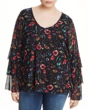 Love Scarlett Plus Floral-Print Tiered Sleeve Top