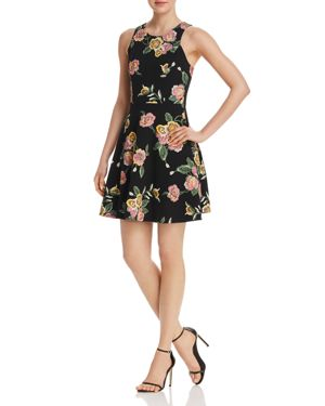 Aqua Textured Floral Print Fit-and-Flare Dress - 100% Exclusive 2625198