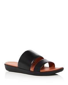 FitFlop - Women's Delta Leather Demi Wedge Platform Slide Sandals