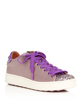 COACH - Women's C101 Glitter & Satin Embellished Lace Up Sneakers