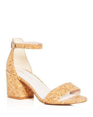 Kenneth Cole Women's Hannon Glitter Cork Ankle Strap Block Heel Sandals