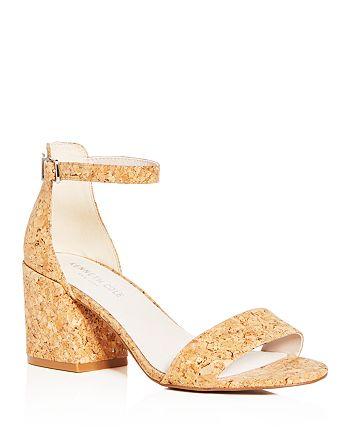 a6a6ceeb199 Kenneth Cole - Women s Hannon Glitter Cork Ankle Strap Block Heel Sandals