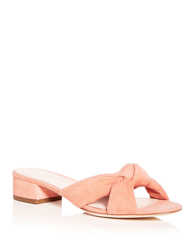 Loeffler Randall Women's Elsie Suede Low Block Heel Slide Sandals