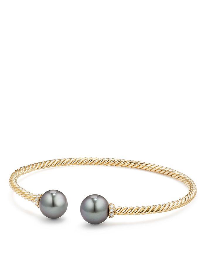 David Yurman  Solari Bead Bracelet with Diamonds & Cultured Tahitian Gray Pearl in 18K Gold