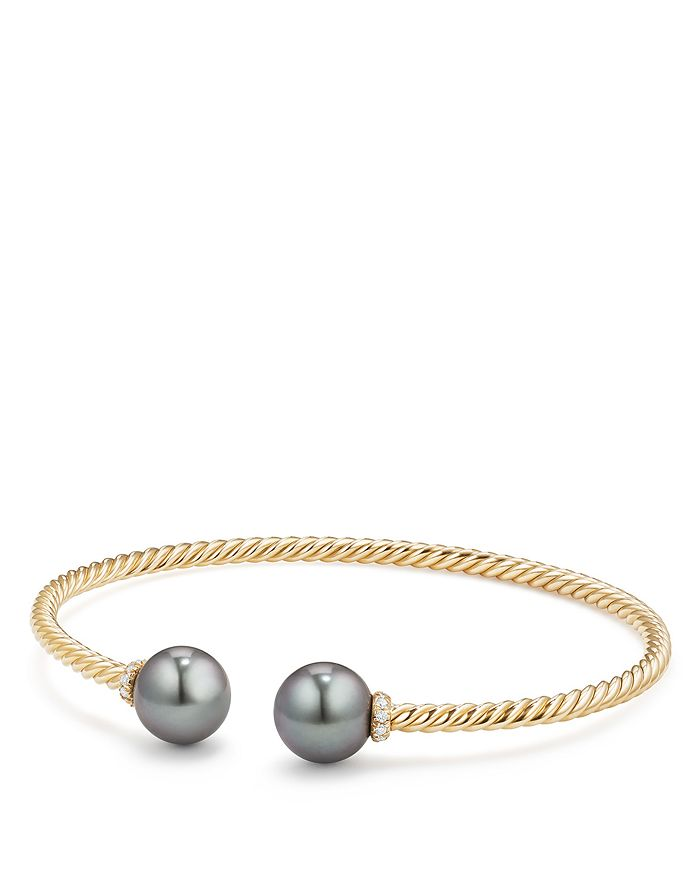 David Yurman - Solari Bead Bracelet with Diamonds & Cultured Tahitian Gray Pearl in 18K Gold