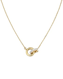 Adina Reyter - 14K Yellow Gold Pavé Diamond Interlocking Loop Necklace, 15""