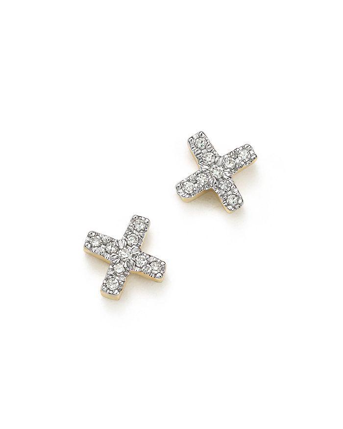 Adina Reyter - 14K Yellow Gold Pavé Diamond Tiny X Stud Earrings