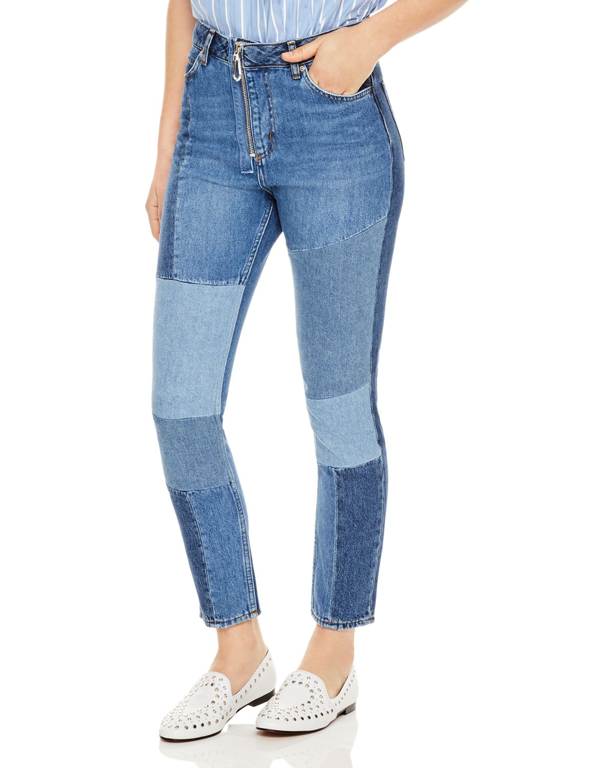 Hani Cropped Patchwork Jeans by Sandro