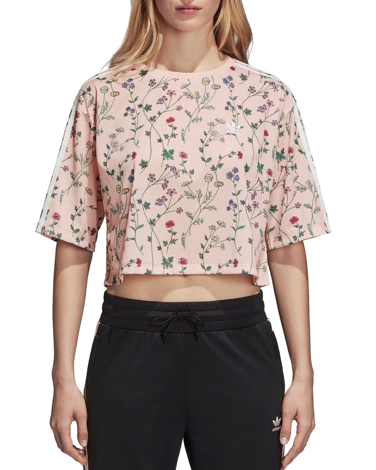 Floral Print Cropped Tee  by Adidas Originals