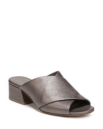 Vince - Women's Karsen Leather Block Heel Slide Sandals