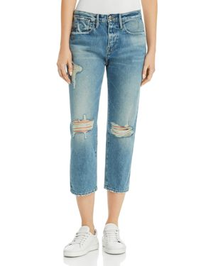 Frame Le Stevie Distressed Cropped Jeans in Deane