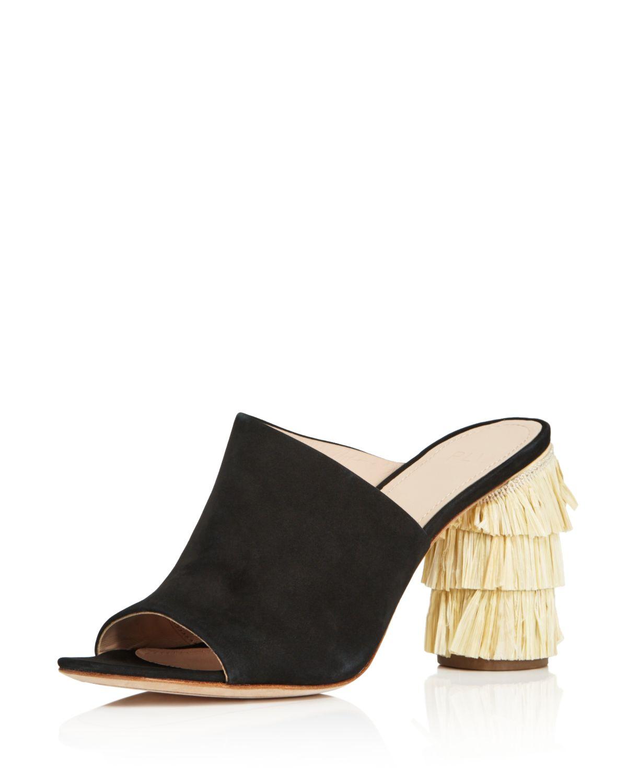 Pour La Victoire Women's Hettie Nubuck Leather & Raffia High-Heel Slide Sandals