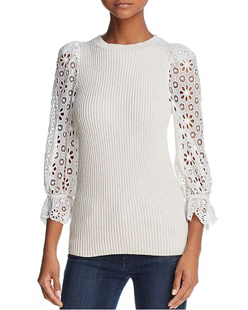 Rebecca Taylor - Lace-Sleeve Sweater