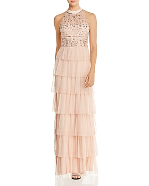 Adrianna Papell Embellished Tiered-Mesh Gown