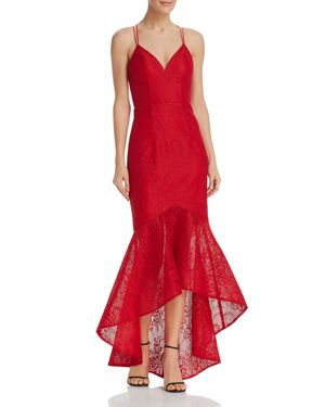 BARIANO Lace Fishtail Dress - 100% Exclusive in Bright Red