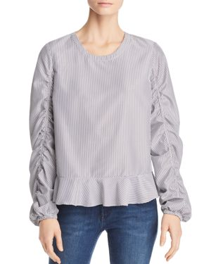 Marled Striped Ruched-Sleeve Top