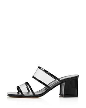 Charles David - Women's Cally Patent Leather Illusion Block Heel Slide Sandals