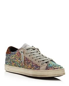 P448 - Women's John Glitter & Suede Lace Up Sneakers