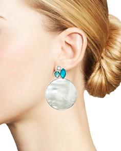 IPPOLITA - Sterling Silver Wonderland Mother-of-Pearl & Clear Quartz Doublet Cluster & Round Drop Earrings in Bermuda